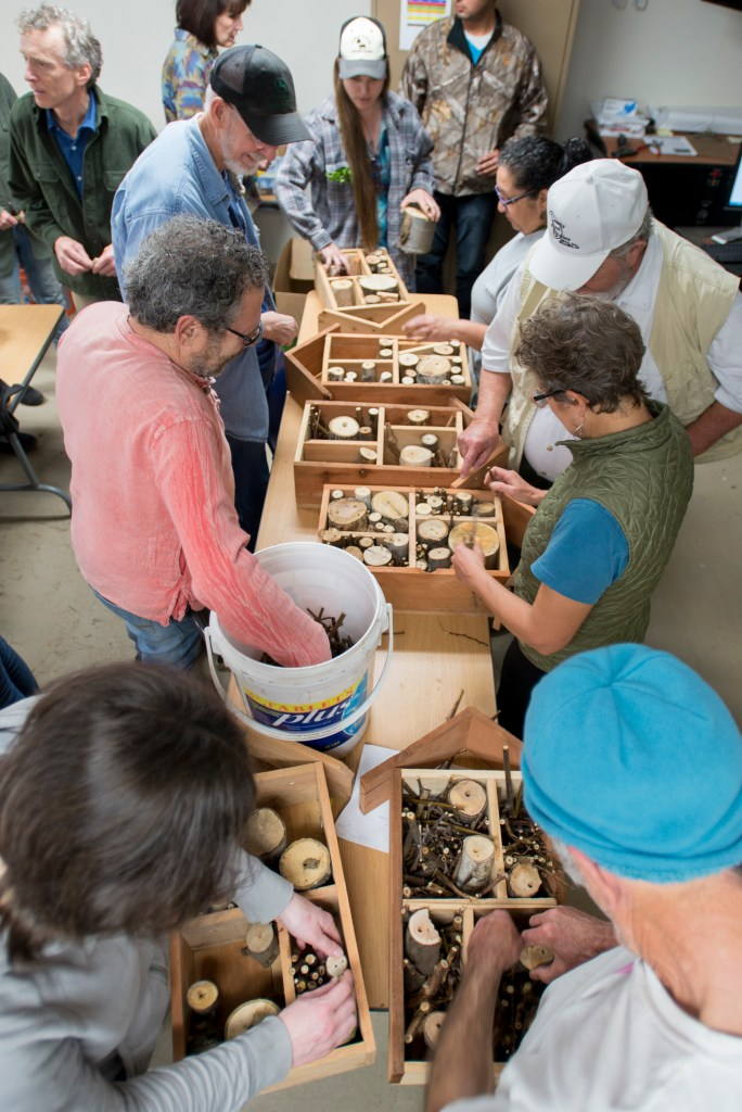 More than 60 people crowded a classroom at University Farm for a workshop on building bee hotels.