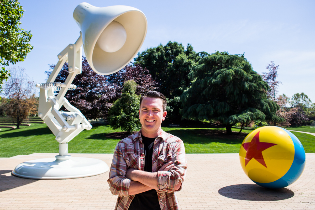 Alumnus and assistant editor at Pixar Animation Studios Jimmy Lillard inside the stuidos' headquarters in Emeryville.