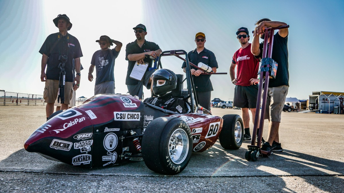 Chico State student Spencer Johnson sits in the car waiting to do the brake test component of the technical inspection. (Courtesy Luis Mora)