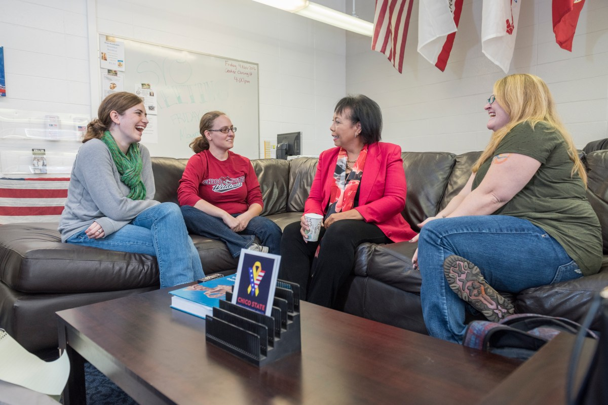 Mary Kight (second from right) talks to CSU, Chico veteran students Kaitlin Gronlund, Trista Beitz, and Rachele Rooney (left to right).