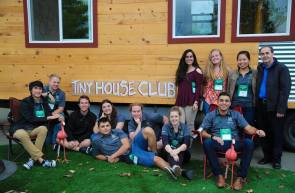The Chico State Tiny House Club sits in front of its tiny house, designed and built for the Tiny House Competition in Sacramento last month. (Chico State Tiny House Club Facebook page)