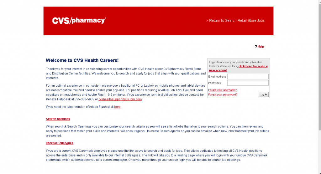cvs careers login