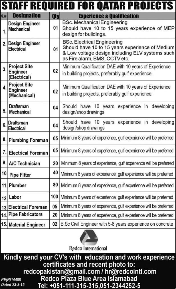 Staff Required For Qatar Projects In Redco International