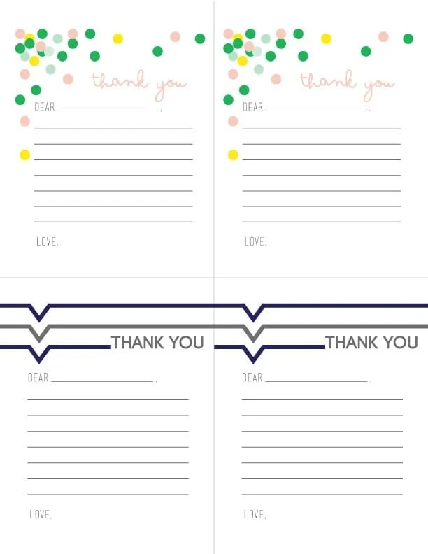 Printable Thank you Notes for Children Today\u0027s Creative Life - printable thank you note