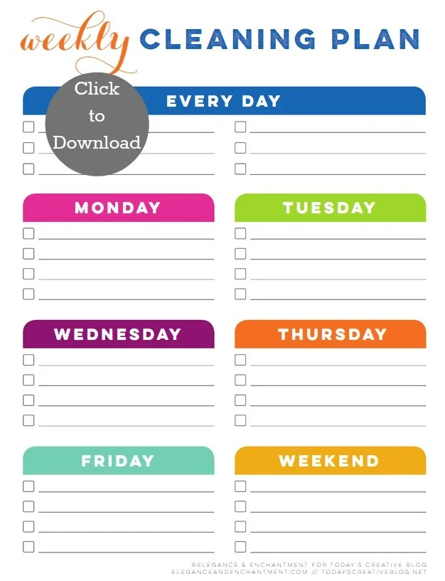 Weekly Cleaning Schedule Printable Today\u0027s Creative Life
