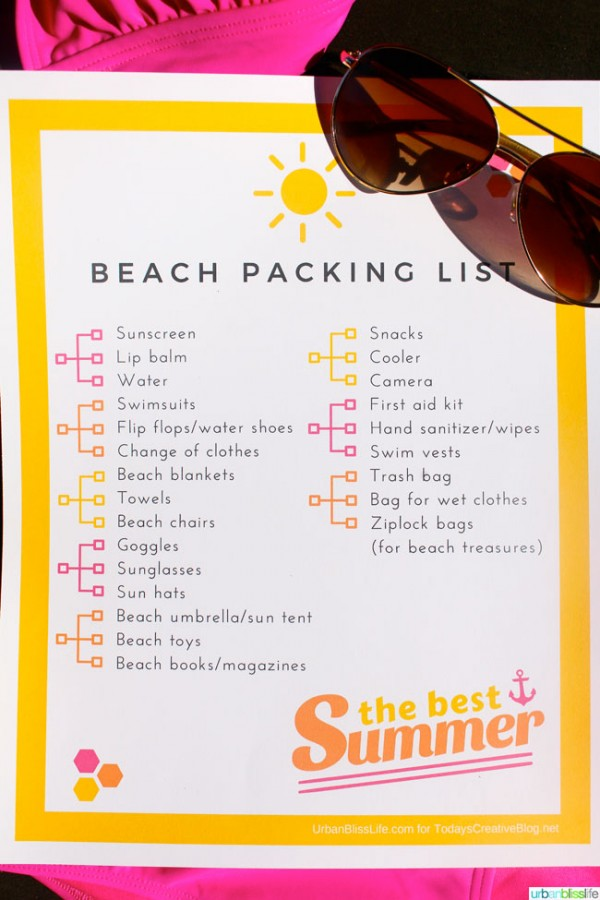Free Printable Beach Vacation Packing List Today\u0027s Creative Life - Vacation Packing List Printable