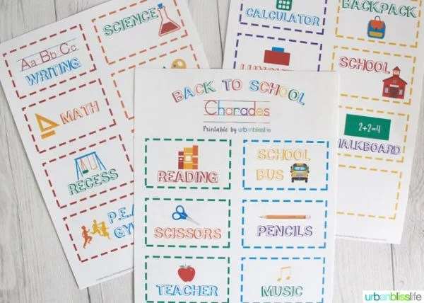 Back to School Charades Free Printable Today\u0027s Creative Life