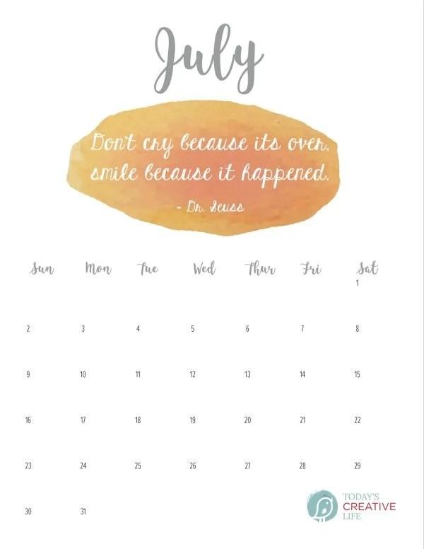 July 2017 Printable Calendar Today\u0027s Creative Life