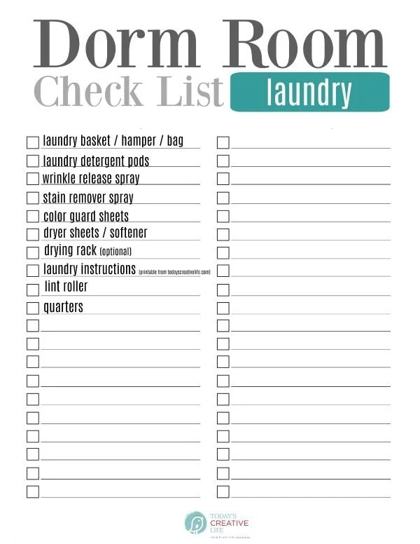 College Packing List - Free Printable Today\u0027s Creative Life