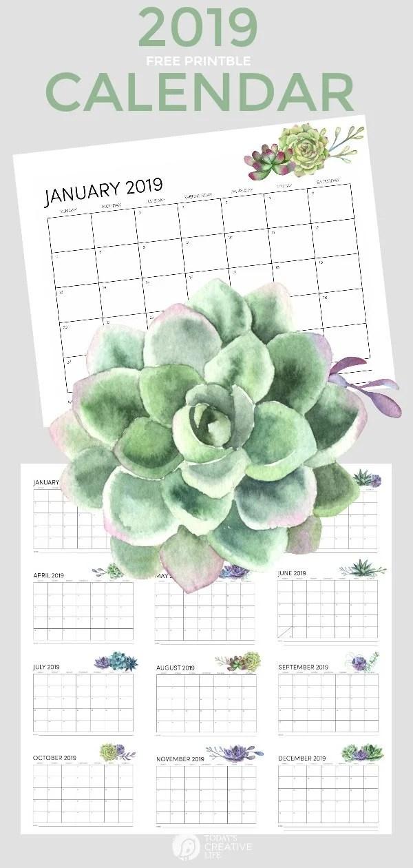 Free Printable Calendar 2019 Today\u0027s Creative Life