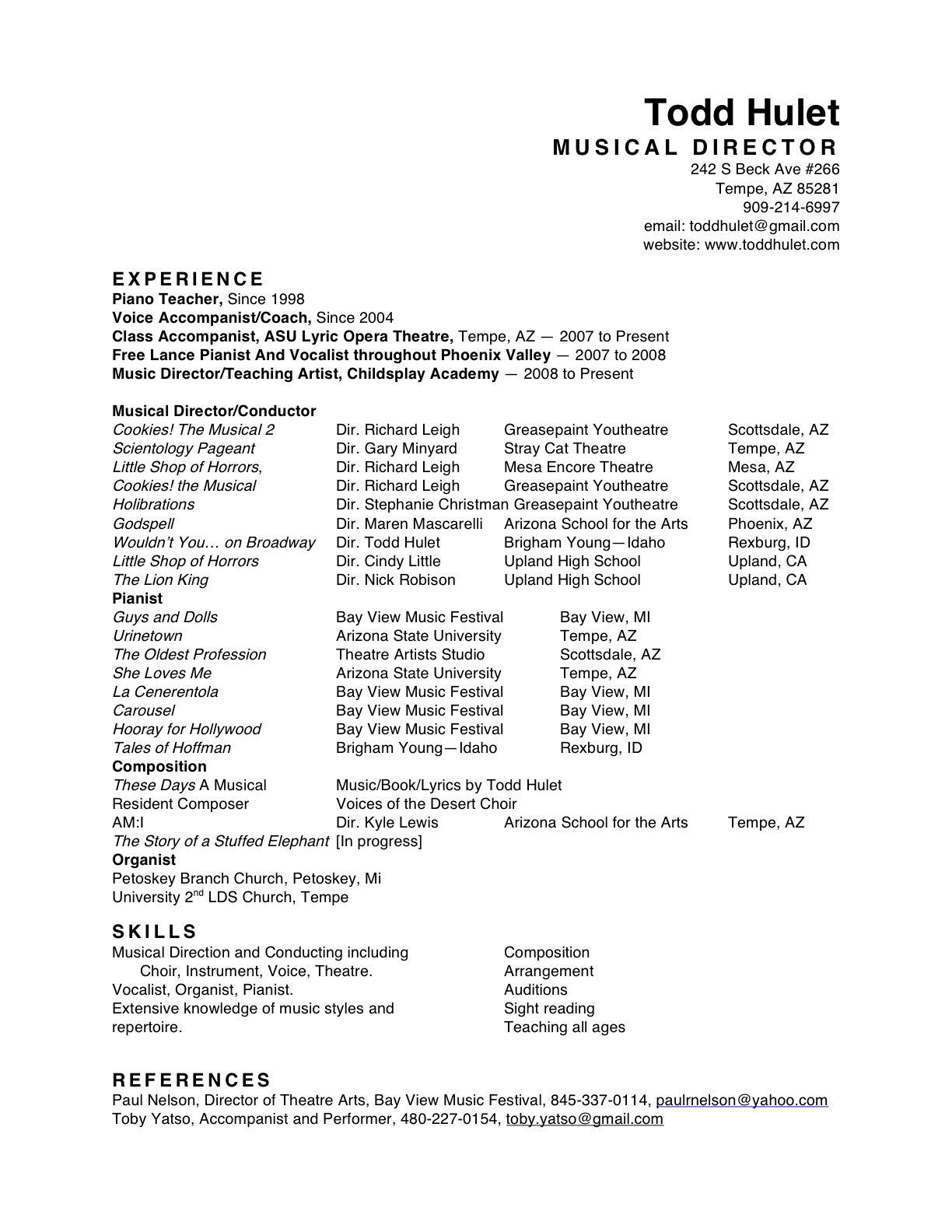 musician profile sample sampling sample dance audition resume
