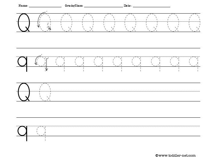 Tracing and Writing Letter Q Worksheet