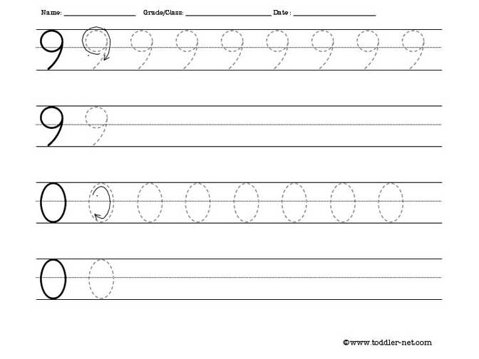 Free number tracing and writing worksheets - Numbers In Writing