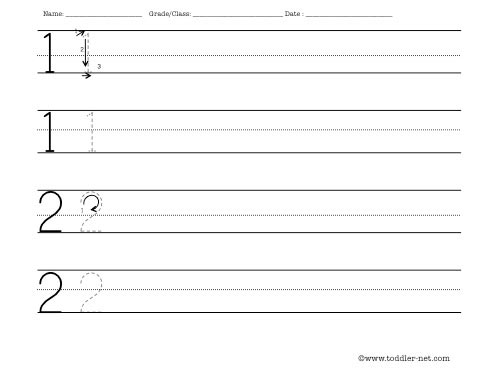 Worksheet to practice writing numbers 1 and 2