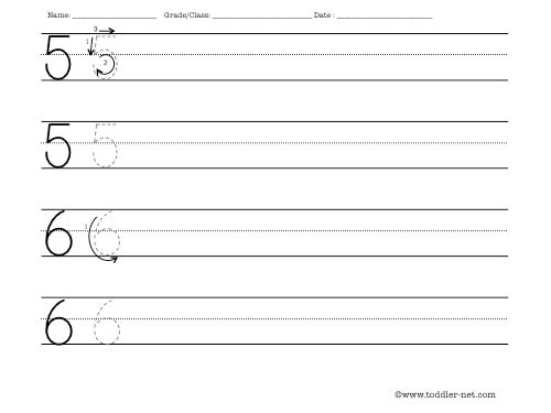 Worksheet to practice writing numbers 5 and 6 - Numbers In Writing