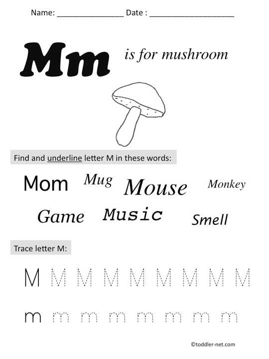 Free Printable Letter M Preschool Worksheet