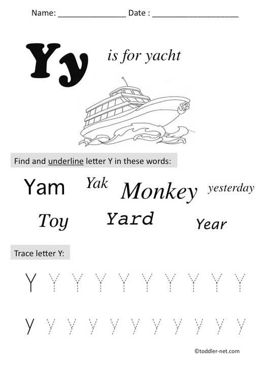 Free Printable Letter Y Preschool Worksheet