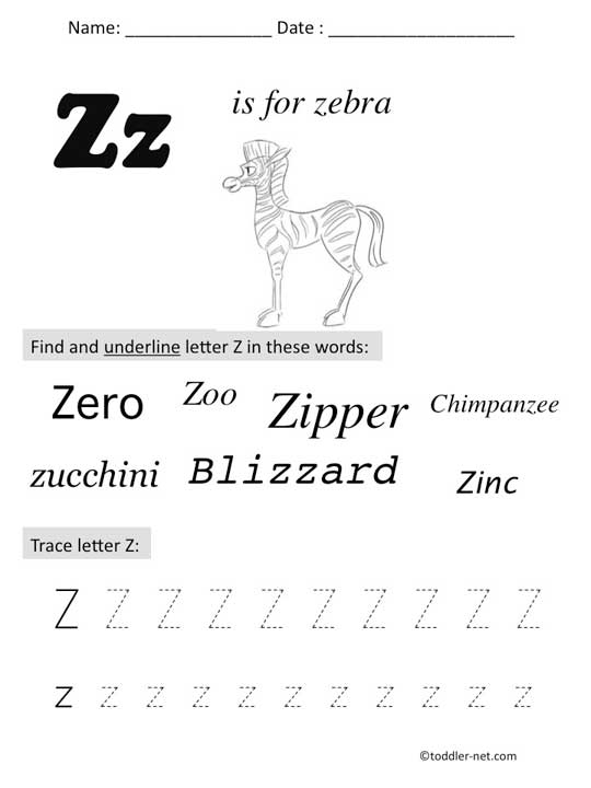 Free Printable Letter Z Preschool Worksheet