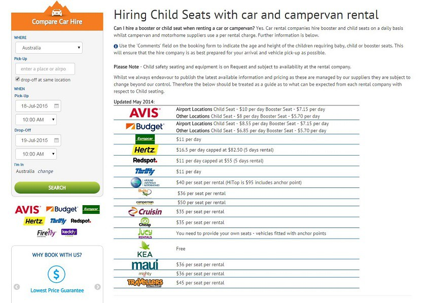 Car Hire and child seats