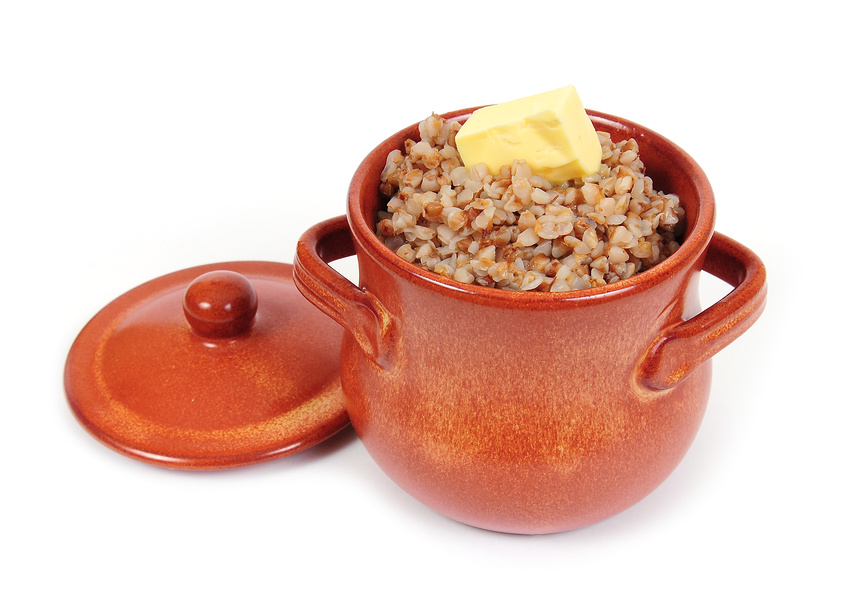 Russian porridge – buckwheat, millet, rice, semolina, oatmeal, with milk and butter