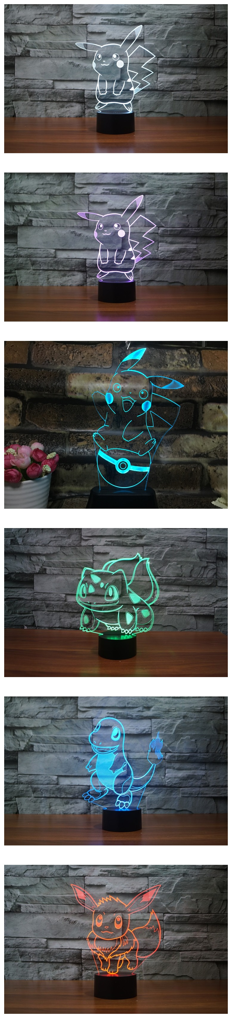 Lampara Led Para Ebook Lampara Led 3d Pokemon