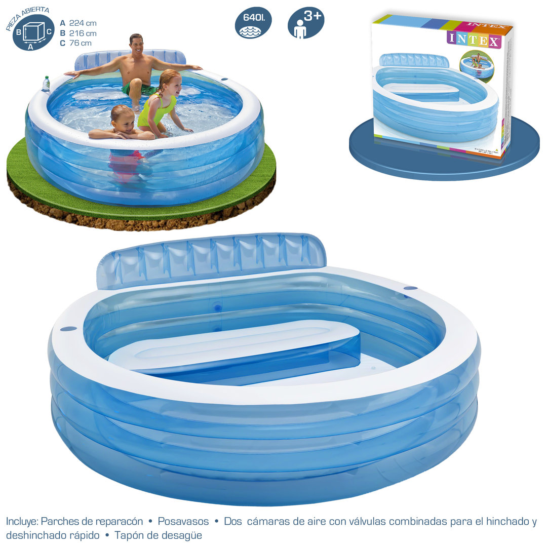 Piscina Intex Familiar Piscina Hinchable Familiar Con Sillón Piscina Desmontable