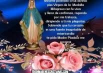 Imagen de la Vírgen de la Medalla Milagrosa con oración