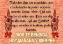 Dios te bendiga hoy, mañana y siempre