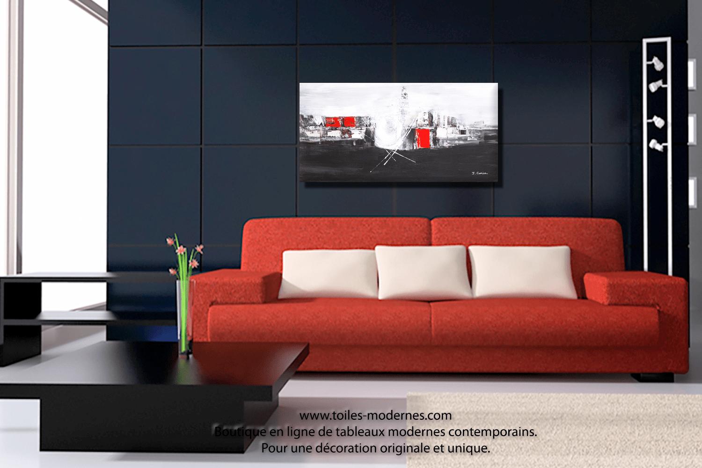 Tableau Deco Salon Rouge | Tableau Salon Design Galerie Avec Deco ...