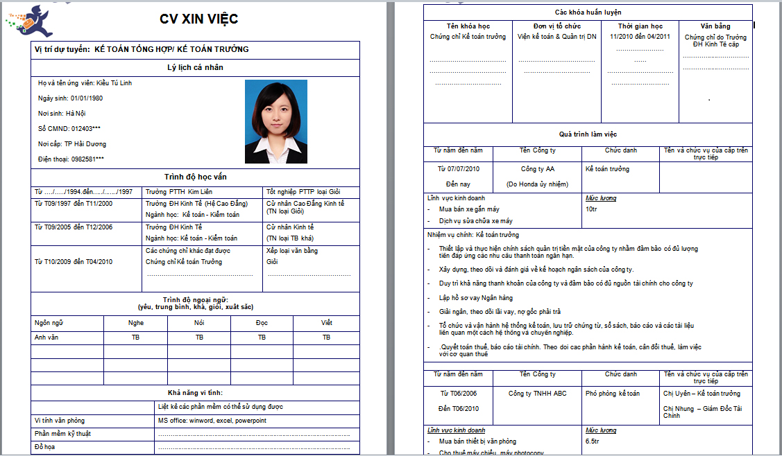 mau-cv-xin-viecjpg (1127×658) cv xin việc Pinterest - health information management resume
