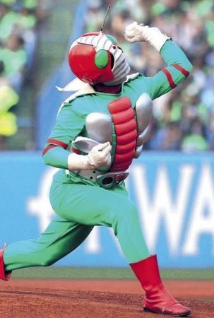 Kamen Rider V3 Throws First Pitch At Yakult Swallows Game
