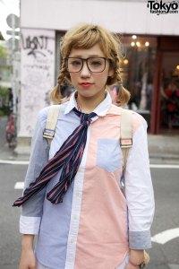 Preppie Girl in Oxford Shirt, Necktie & Chiffon Skirt