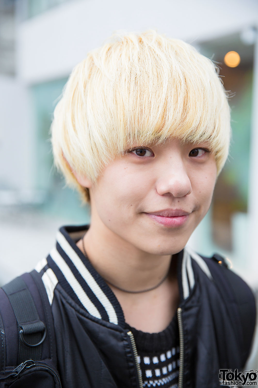 Crying Cute Boy Wallpaper Blonde Harajuku Guy W Sukajan Jacket Sweater Skinny