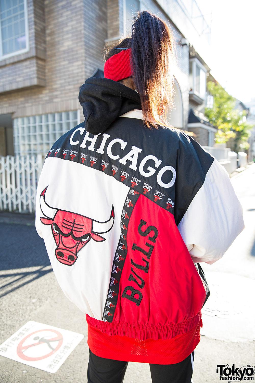 Jordan Girl Wallpaper Harajuku Girl In Chicago Bulls Bomber Jacket Adidas Amp Air