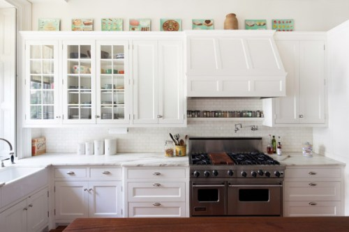 sheila bridges kitchen white paned upper cabinets doors subway tile backsplash cococozy