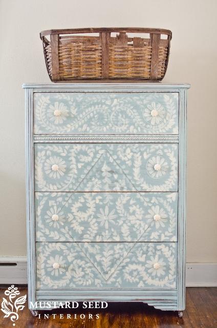 hand painted dresser via miss mustard seed