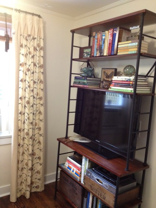 TV room sonoma bookcase curtains