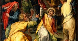 The_stoning_of_St_Stephen._Oil_painting_attributed_to_Orazio_Wellcome_V0017355