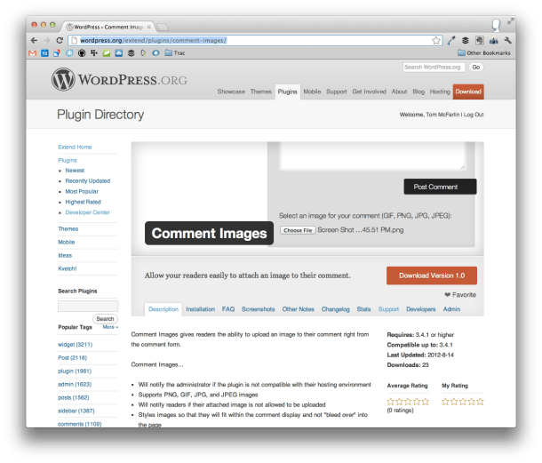 Comment Images For WordPress