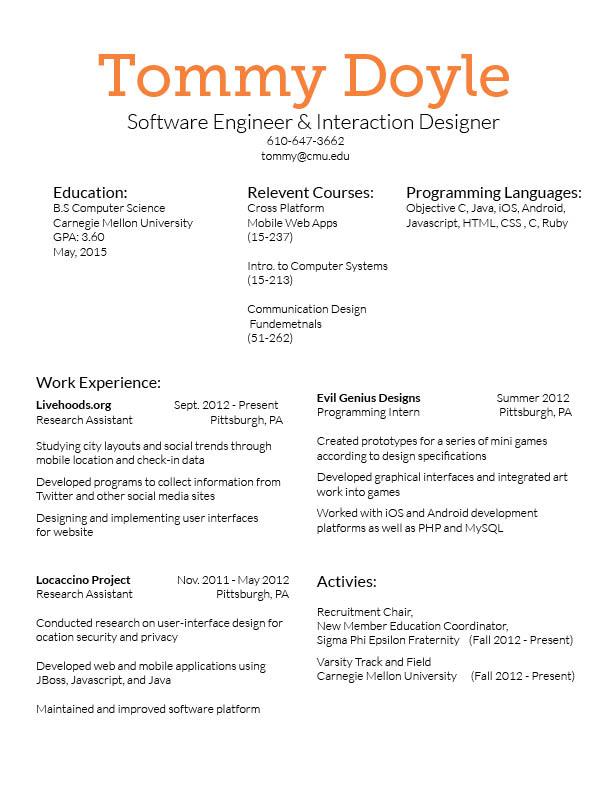 Resume and business card final \u2013 Tommy\u0027s CDF Blog - Designing A Resume