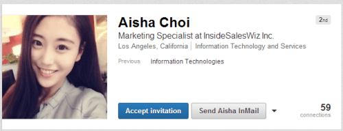 Invitation from fake persona Aisha Choi