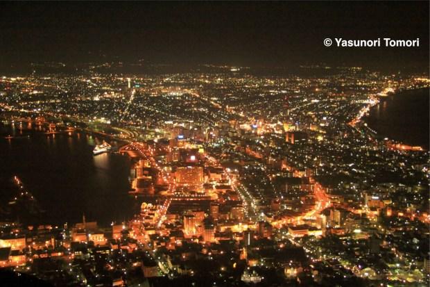 北海道・箱館山からの夜景=2010年8月撮影
