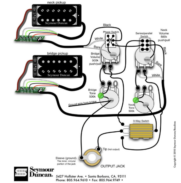 humbucker mounting diagram