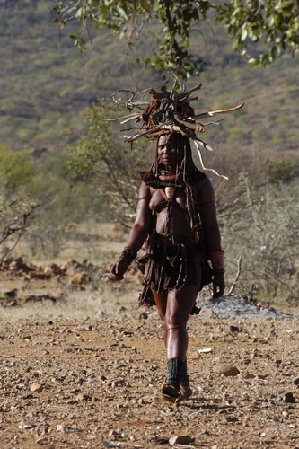 A Himba woman carrying firewood