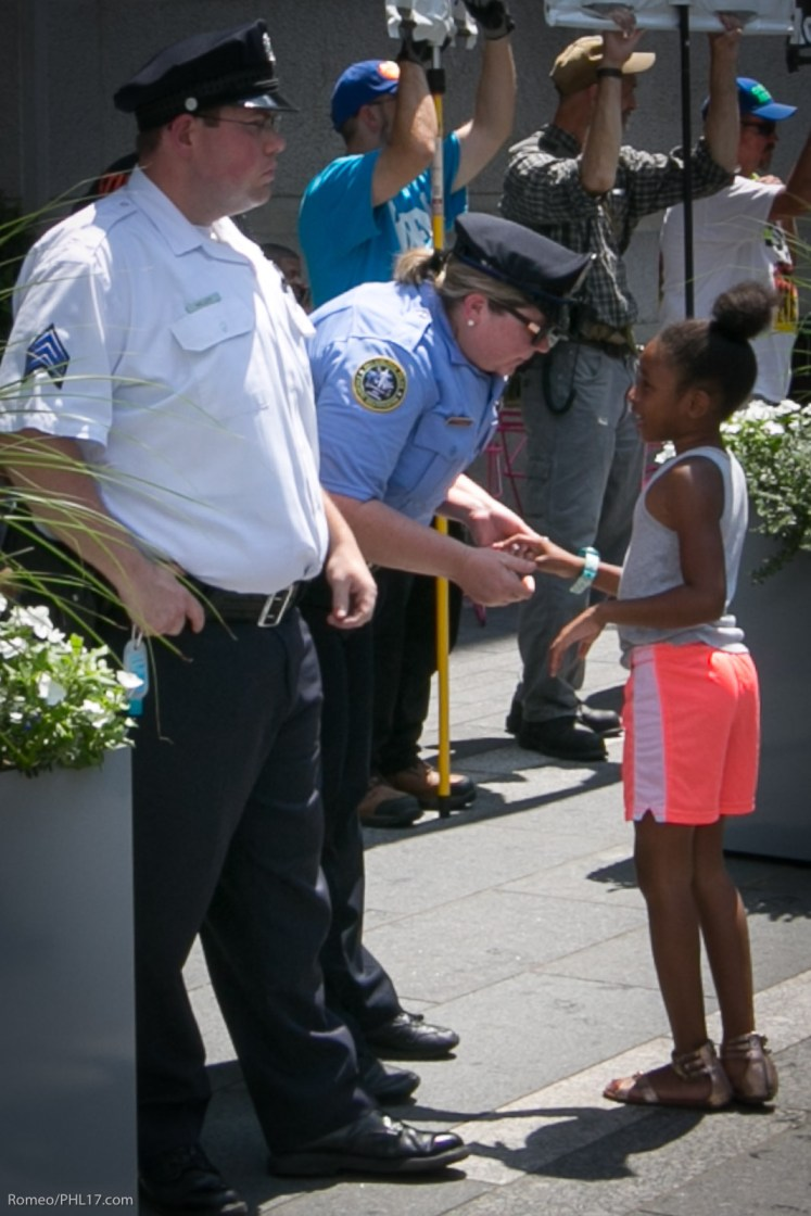 I was able to catch this really sweet moment with the Philly Cops and this youngster that walked through protest hostilities, the cops were there to protect, to thanks them. Total TearJerker.