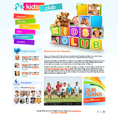Free Kids Club Html5 website template - Tonytemplates blog