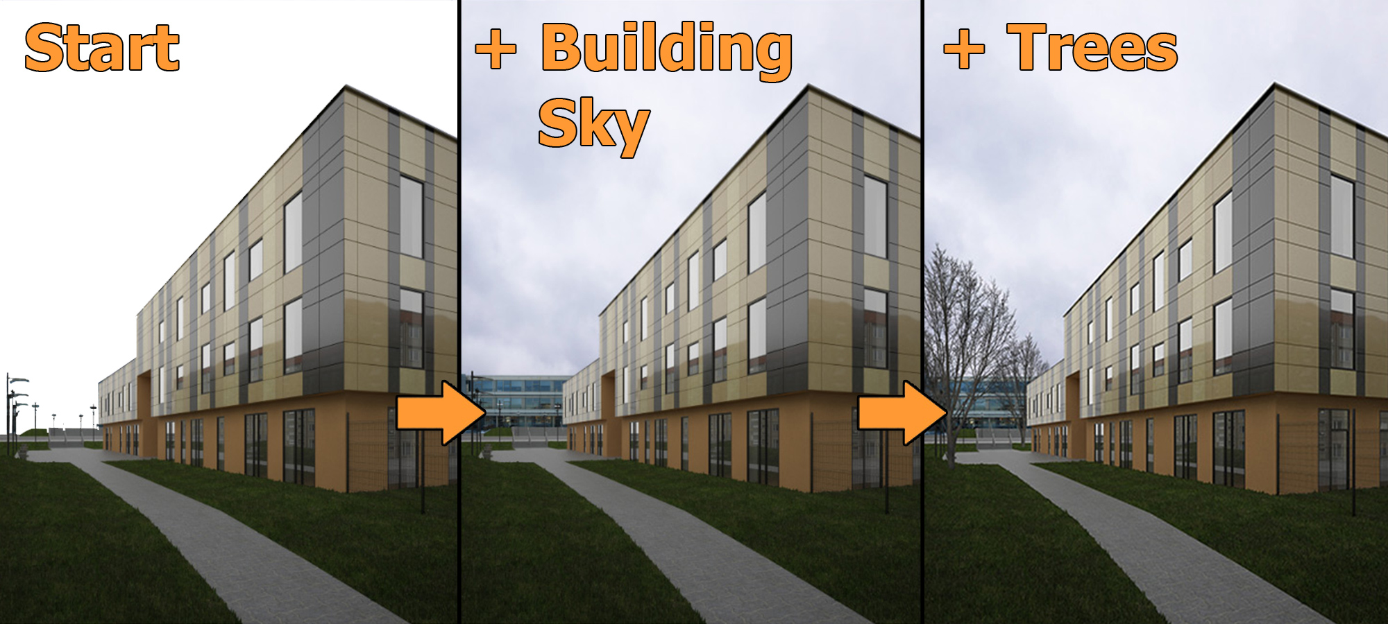 Architektur Rendering 3ds Max + Photoshop Tutorial: Architektur Außenszene Mit Staffage Objekten Aufwerten