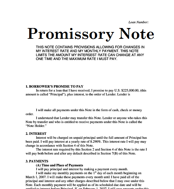 Promissory Note Example For School – Promise to Pay Note