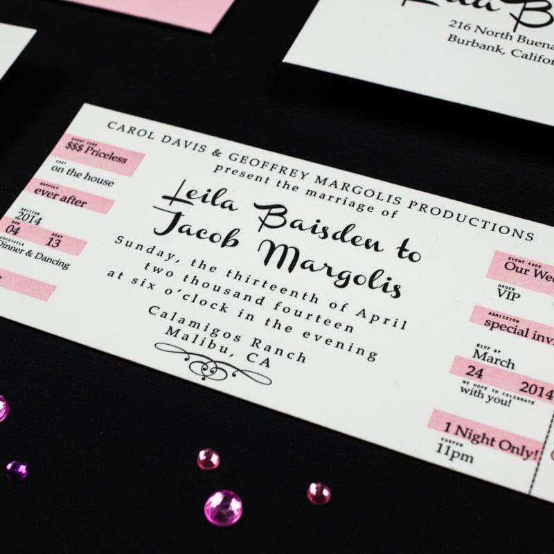 Concert Ticket Wedding Invitations - Too Chic  Little Shab Design - concert ticket invitations