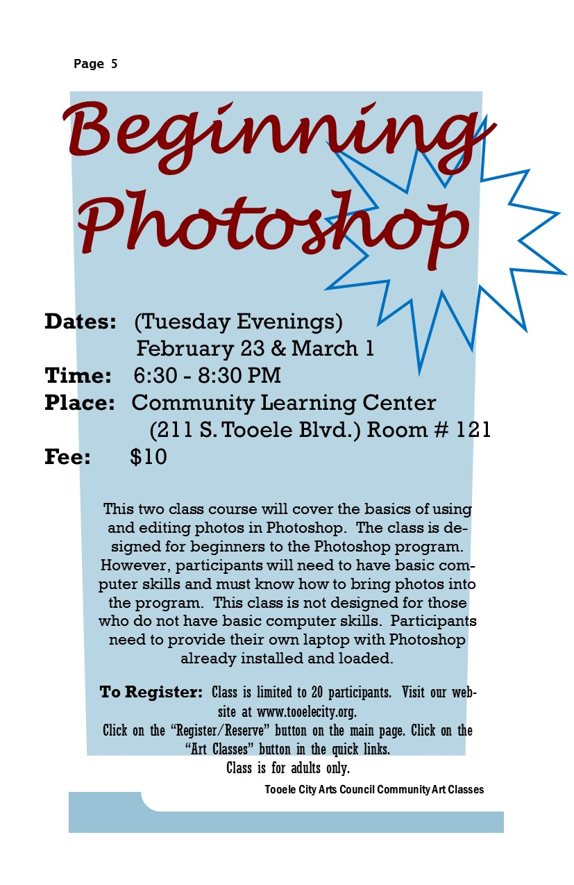 Photoshop Classes Beginning Photoshop Spring 2016 Class Begins Tooele City